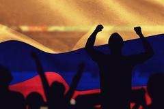 Silhouettes of football supporters against composite image of - stock illustration