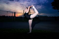 Young Tween Caucasian Girl practices Ballet in her Backyard Stock Photos