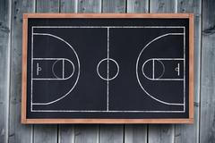 Basketball field plan against blackboard with copy space on wooden board - stock illustration
