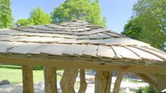 Closer look of the wooden shingles on the roof Stock Footage