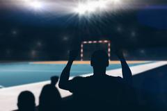 Silhouettes of football supporters against handball field indoor Stock Illustration