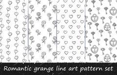 Romantic grunge line art pattern set. Piirros