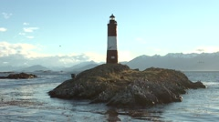 Lighthouse Les Eclaireurs over island in the Beagle Channel Stock Footage