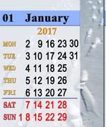 Calendar for January 2017 with traces on the snow Stock Illustration