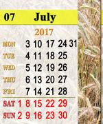 Calendar for July 2017 with field of wheat Stock Illustration