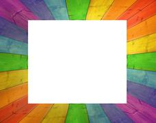 Bright frame from wooden boards isolated Stock Illustration