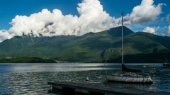 Lake Como with Boat and Clouds Timelapse - stock footage
