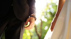 Marry Me Today And Everyday. Newlywed Couple Holding Hands, Shot In Slow Motion - stock footage