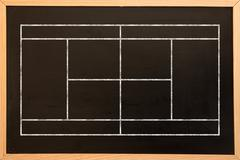 Sport field plan on a black background against blackboard with copy space - stock illustration