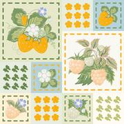 Patchwork background with strawberries and raspberries. Seamless vector pattern. - stock illustration