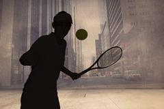 Female athlete playing tennis against urban projection on wall - stock illustration