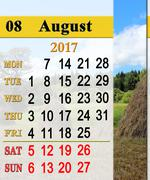 Calendar for August 2017 with stacks in village Stock Illustration