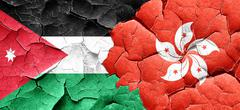 Jordan flag with Hong Kong flag on a grunge cracked wall - stock illustration