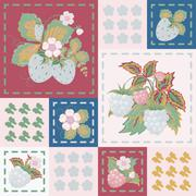 Patchwork background with strawberries and raspberries. Seamless vector pattern. Stock Illustration