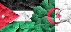Jordan flag with Algeria flag on a grunge cracked wall Stock Illustration
