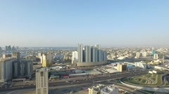 Pearl towers. Cityscape of Ajman with modern buildings aerial top view Stock Footage