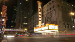 Chicago Theater Time Lapse at Night Stock Footage