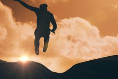 Sportsman jumping on a white background against sky and mountains Stock Illustration
