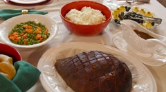 Christmas Dinner on the Table - stock footage