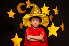 Five years old boy in sky watcher costume Stock Photos