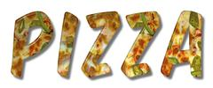 Pizza Word With Bevel Effect - stock illustration