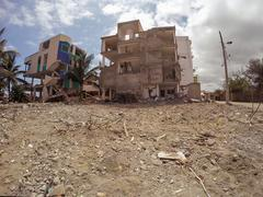 Houses Destroyed By The Massive Earthquake, South America - stock photo