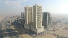 Aerial view around Emirates city towers. Cityscape of Ajman aerial Stock Footage