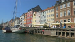 Nyhavn the old harbour in town Stock Footage