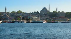 Evening in Istanbul and Pleasure Ships. Time Lapse 4K - stock footage
