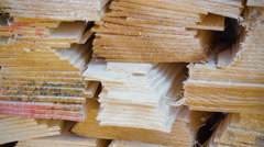 Edge of the wooden tars and shingles piled Stock Footage