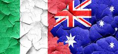 Italy flag with Australia flag on a grunge cracked wall Stock Illustration
