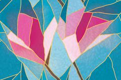 Multicolored stained glass with floral motif, vector Stock Illustration