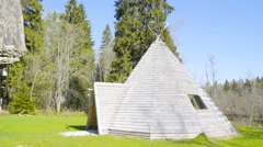 The triangle shape wooden house Stock Footage