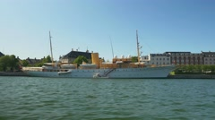 The Danish Royal Yacht at the Harbour close to the Royal Palace Stock Footage
