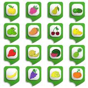 Fruits and vegetables icon set Stock Illustration