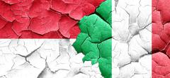 Indonesia flag with Italy flag on a grunge cracked wall Stock Illustration