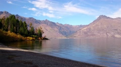 Scenic Lakeside View At Wilson Bay Overlooking Lake Wakatipu Stock Footage