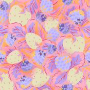 Seamless pattern of realistic image delicious ripe berries Stock Illustration