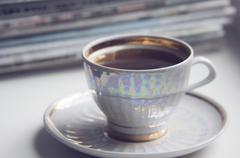 Morning cup of coffe (espresso) Stock Photos
