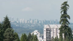 City landscape in sunny day, Metrotown, Burnaby, Greater Vancouver. Stock Footage