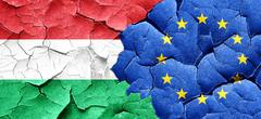 Hungary flag with european union flag on a grunge cracked wall Stock Illustration
