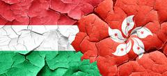 Hungary flag with Hong Kong flag on a grunge cracked wall - stock illustration