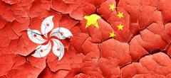 hong kong flag with China flag on a grunge cracked wall - stock illustration