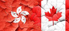 hong kong flag with Canada flag on a grunge cracked wall - stock illustration