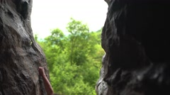 Female Climber in a Rock Cave 4K Stock Footage
