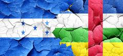 Honduras flag with Central African Republic flag on a grunge cra - stock illustration
