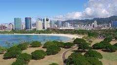 Aerial, Ala Moana, Waikiki, Oahu, Hawaii Stock Footage