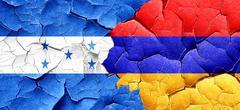 Honduras flag with Armenia flag on a grunge cracked wall - stock illustration
