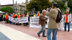 People protest regarding the pensions in Placa de Catalunya - stock footage