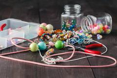 tools for creating fashion jewelry in the manufacturing process - stock photo